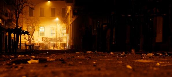 Foto di Valentina Perniciaro _Atene, 20 dicembre 2008, Stournari, lato del Politecnico_