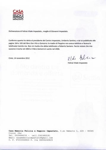 La lettera della nuora di Felicia Impastato